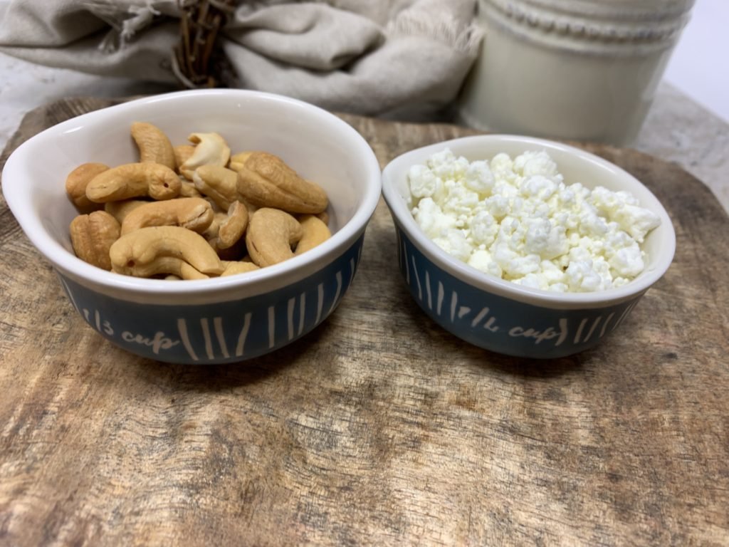 Goat cheese and cashews