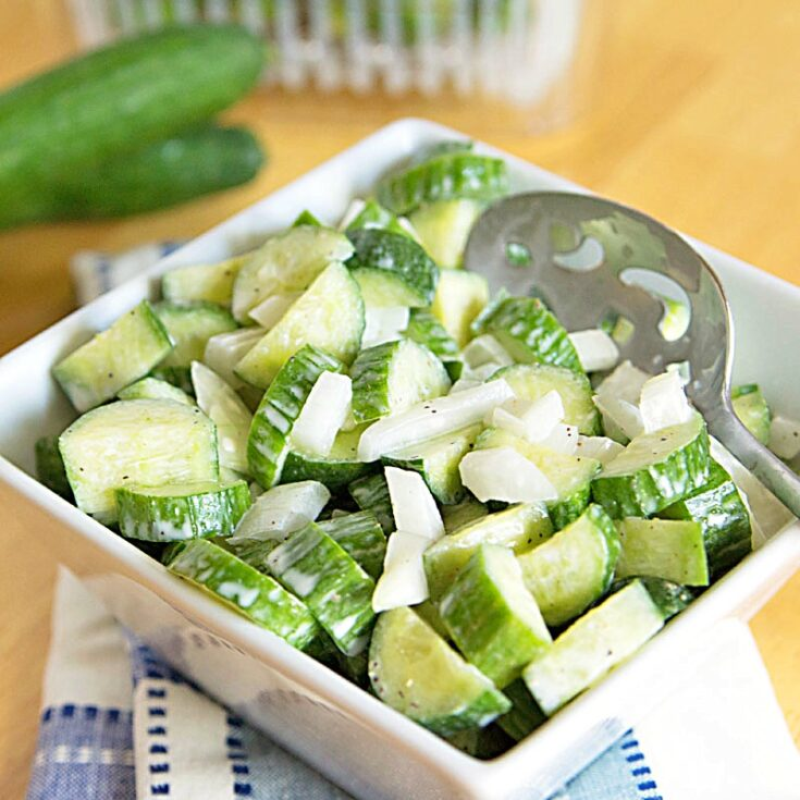 Low Carb Cucumber Salad Recipe, and info to extend the shelf life of your produce. #OXOGreenSaver