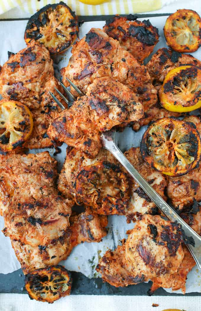 Grilled Aleppo Pepper Chicken Thighs Recipe l Panning The Globe