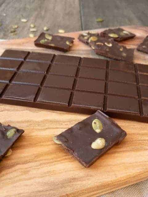 Salted Chocolate Bar with Pumpkin Seeds { Low Carb | Keto | GF }