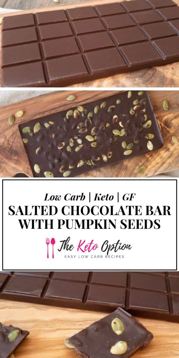 salted chocolate bar with pumpkin seeds