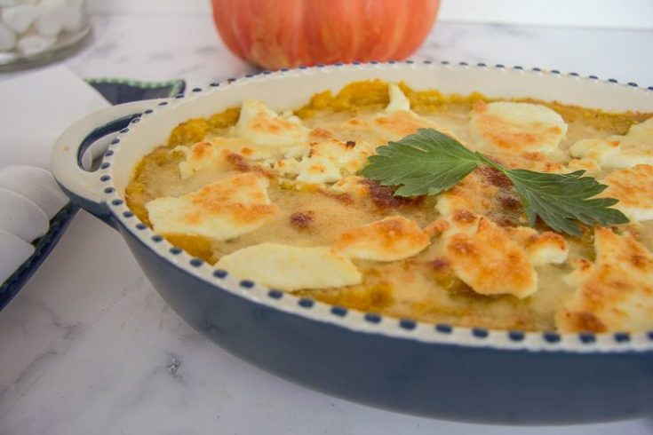 Pumpkin & Goats Cheese Gratin