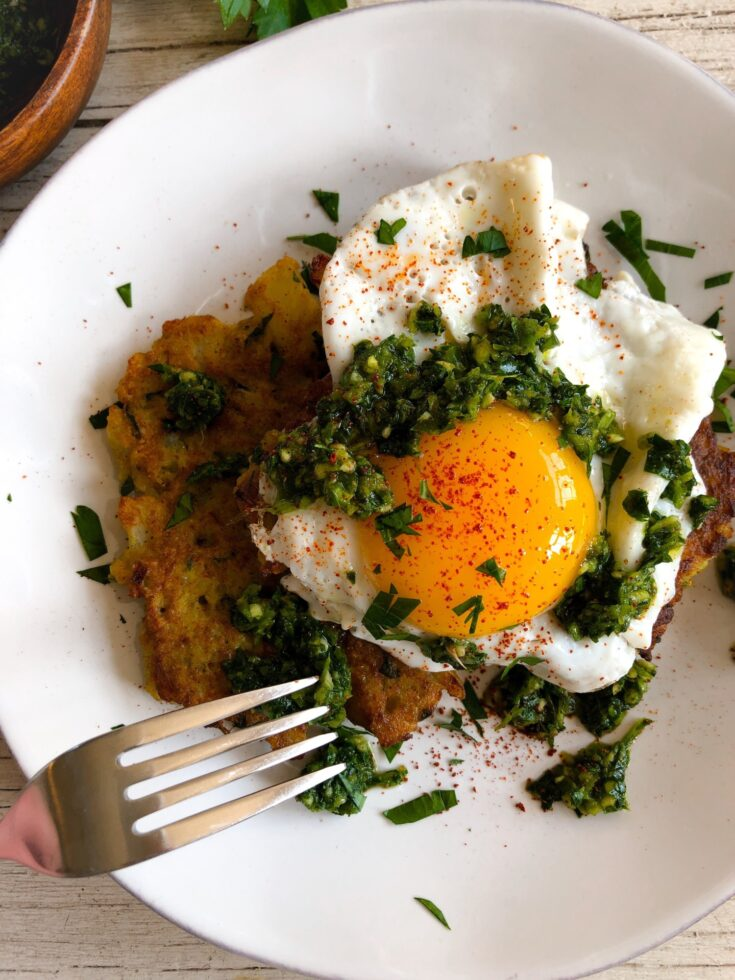 Spiced Breakfast Cauliflower Fritters with Green Zhug (Low Carb & Gluten Free)