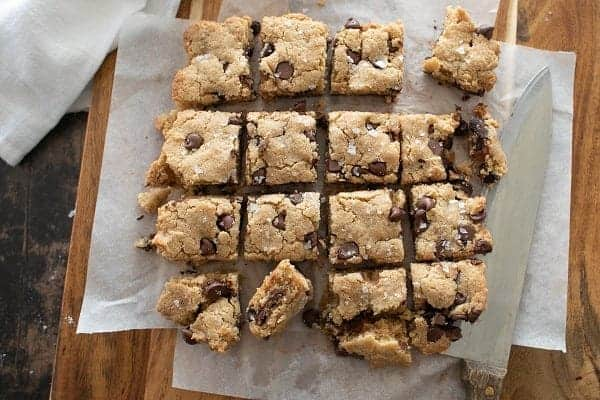 Chocolate Chip Gluten Free Blondies { Low Carb }