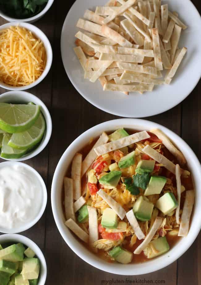 30 minute Gluten-free Chicken Tortilla Soup {Dairy-free option}