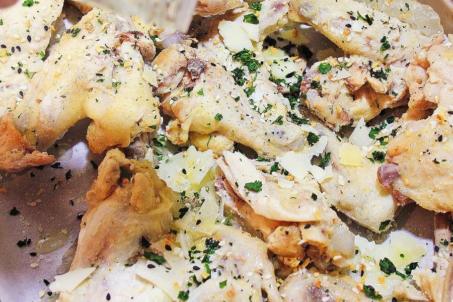 Making Keto Garlic Parmesan Wings