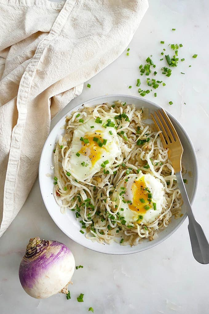 Turnip Noodles with Eggs and Chives