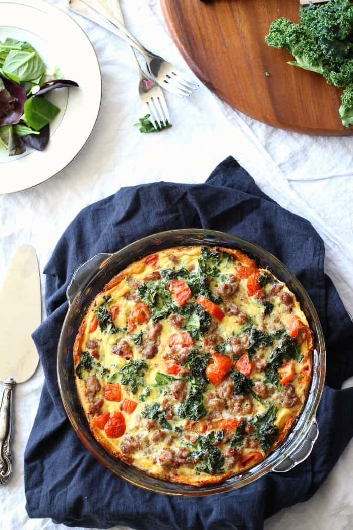 Butternut Crust Quiche with Sausage, Tomatoes & Kale Whole30 Recipe