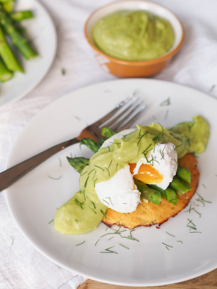 Asparagus Eggs Benedict with Grain Free Biscuits & Avocado Hollandaise