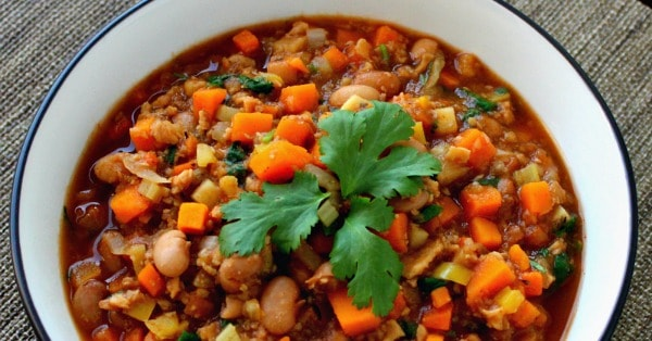 High Protein Vegan Chili with Sweet Potatoes