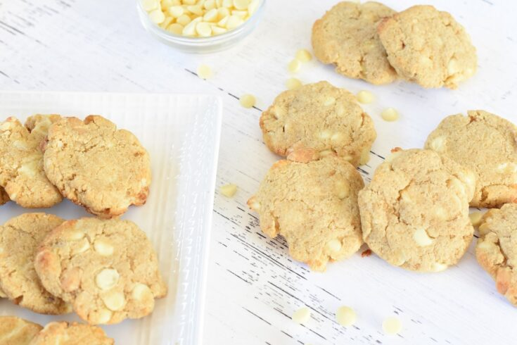 Keto Macadamia Nut Cookies with White Chocolate Chips