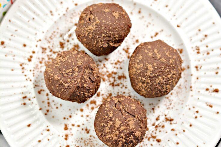 4 Chocolate Keto Truffles on plate