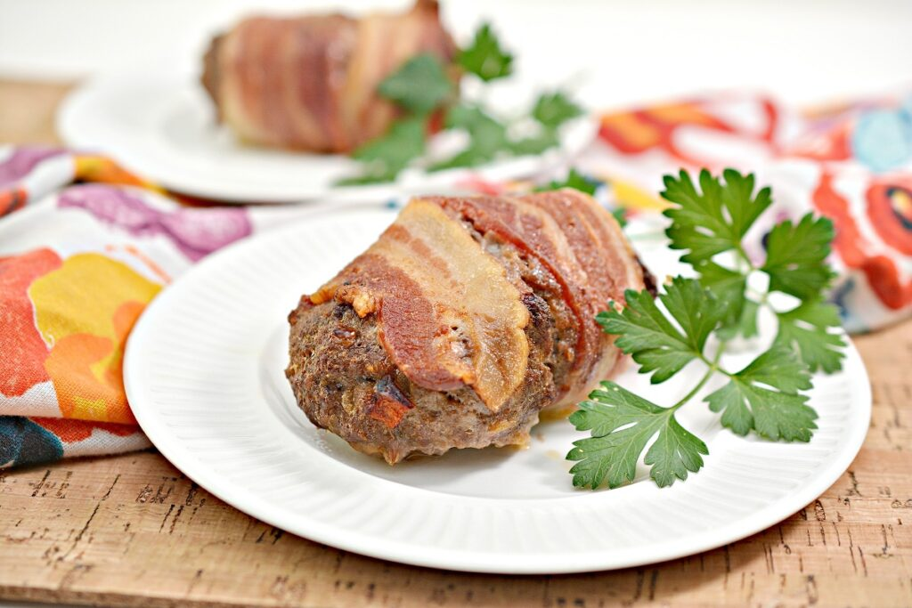 Keto Bacon Wrapped Meatloaf on plate